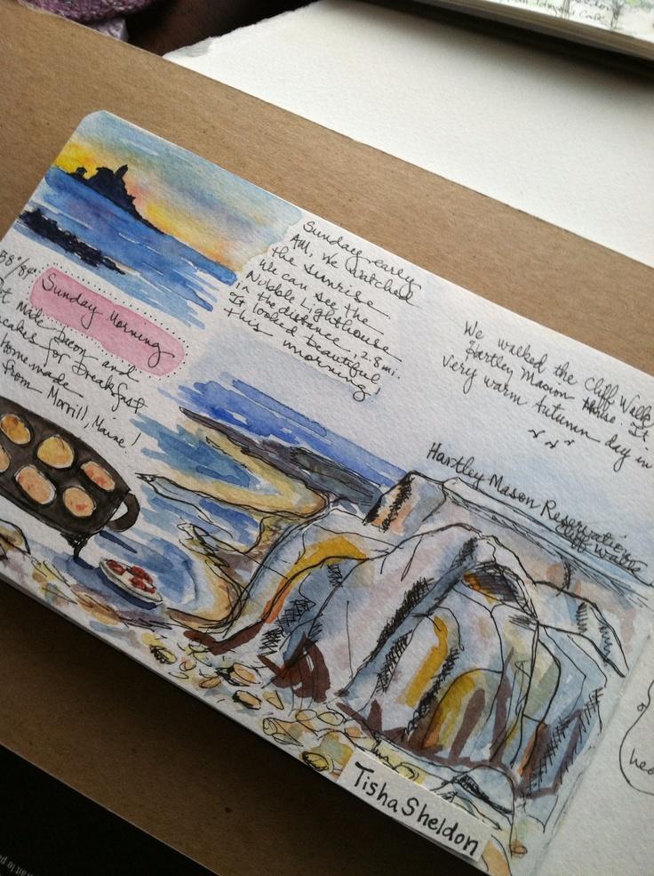 Tisha Sheldon's sketchbook, travel journal, Maine