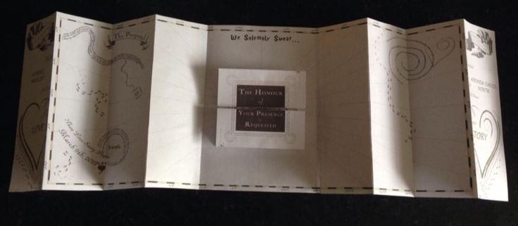 Marauders Map Wedding Invitation from Sorrel & Andy's Harry Potter Wedding. Sorrel owns and runs Ambience Venue Styling North  Lancashire.