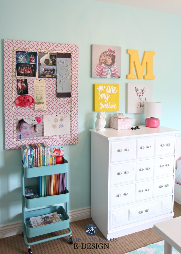 Ikea hack Raskog cart, girls bedroom decorating and storage, organizing ideas for books. Teal, pink and white palette. Kylie M E-design