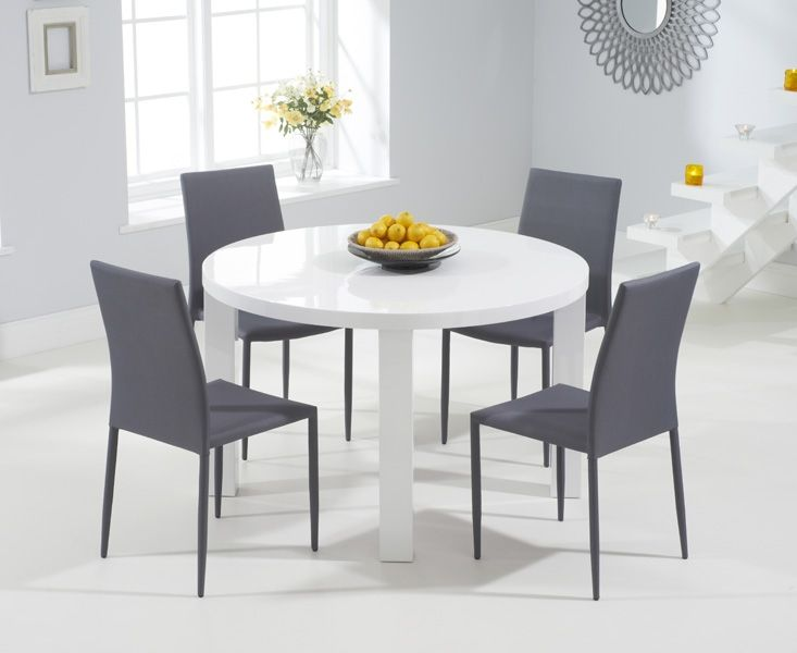 Mark Harris Ava White High Gloss Round Dining Table And 4