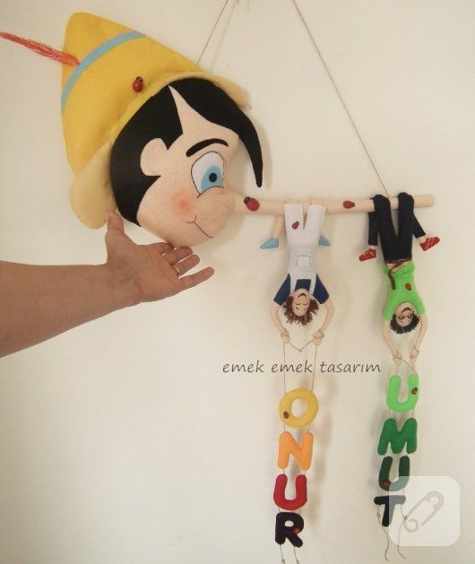 Keçe Pinokyo bebek odası kapı süsü