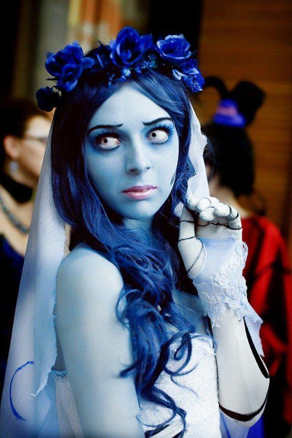 tolle halloween kostüme damen blaue perüke karnevalskostüme