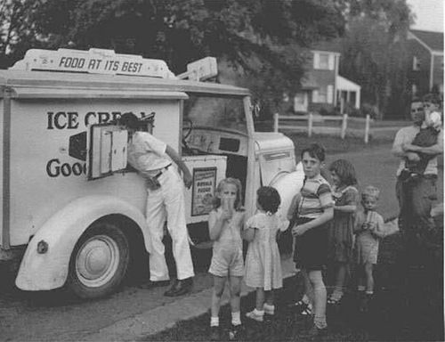 Ice cream truck... 1950's and 1960's.  Daddy would buy all the kids in the neighborhood an ice cream for helping him dig up potatoes in his garden...