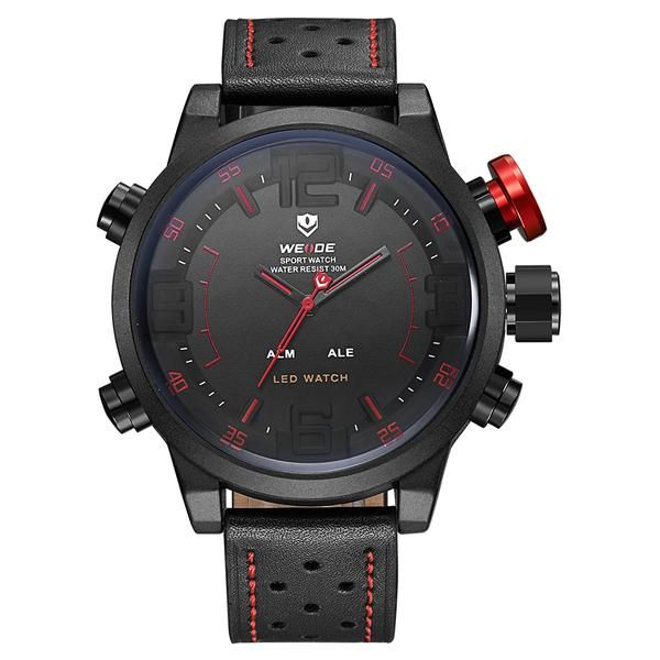 Overview of Weide Japan Quartz Miyota Men Leather Sports Watch 30M Water…