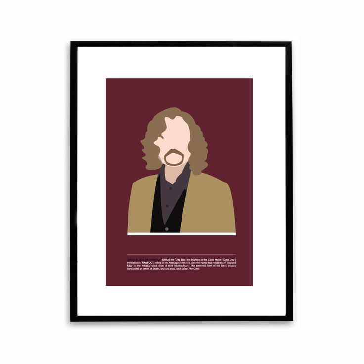 Sirius Black poster from Harry Potter with description of names