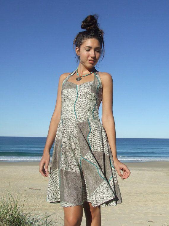 Rockabilly Halter Dress- Sweetheart Neckline- Circle Skirt- Aboriginal  Artwork Print- Bush Onion Dreaming- Natural Hues- 100% Cotton