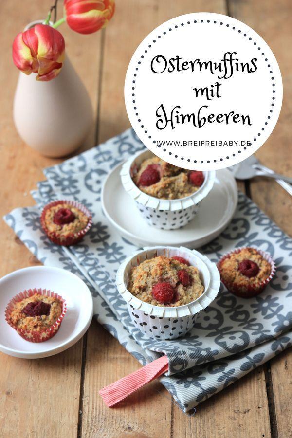 Ostern ist bald - Zeit sich leckere Osterrezepte zu besorgen. Diese Himbeer-Muffins ohne Zucker überzeugen jeden und sind lecker und schnell gemacht. Sie passen perfekt zu Ostern und lassen sich mit Tulpen schön auf der Ostertafel anrichten.   #ostern #muffins #zuckerfrei #himbeeren