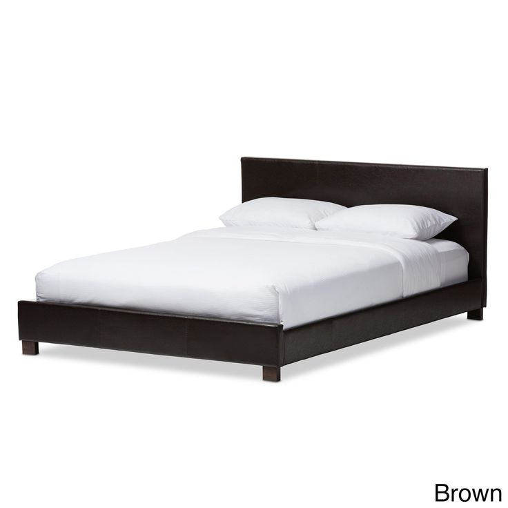Contemporary Platform Bed by Baxton Studio (Full size -Dark Brown Faux Leather)