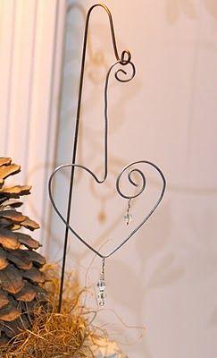 Wire heart from shepherds hook...