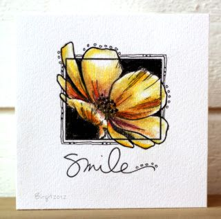 card by Birgit. The flower head spreading outside the frame makes a different design. The double lines at the opposite corners add contrast to the petals.