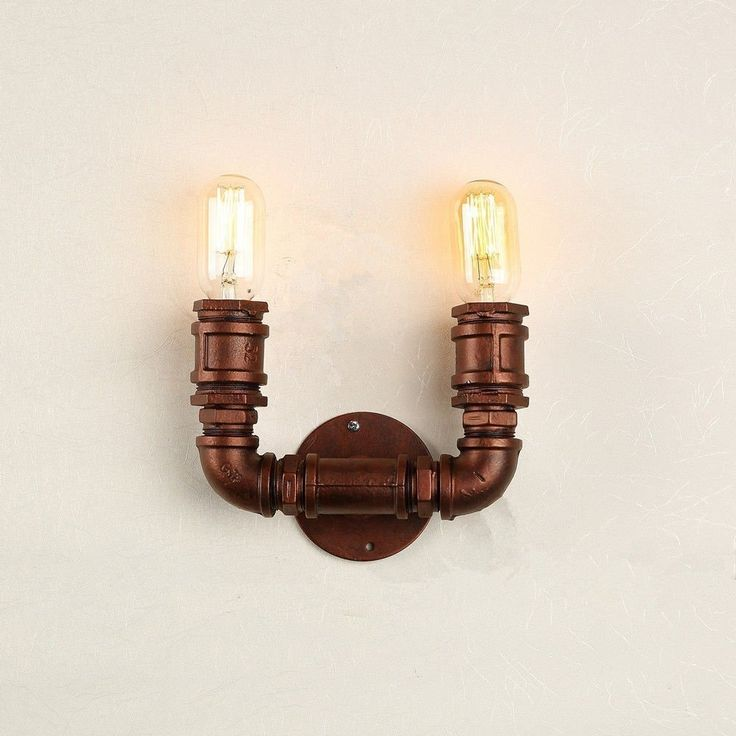 metal sconce wall light steampunk water pipe vintage industrial retro edison unbranded