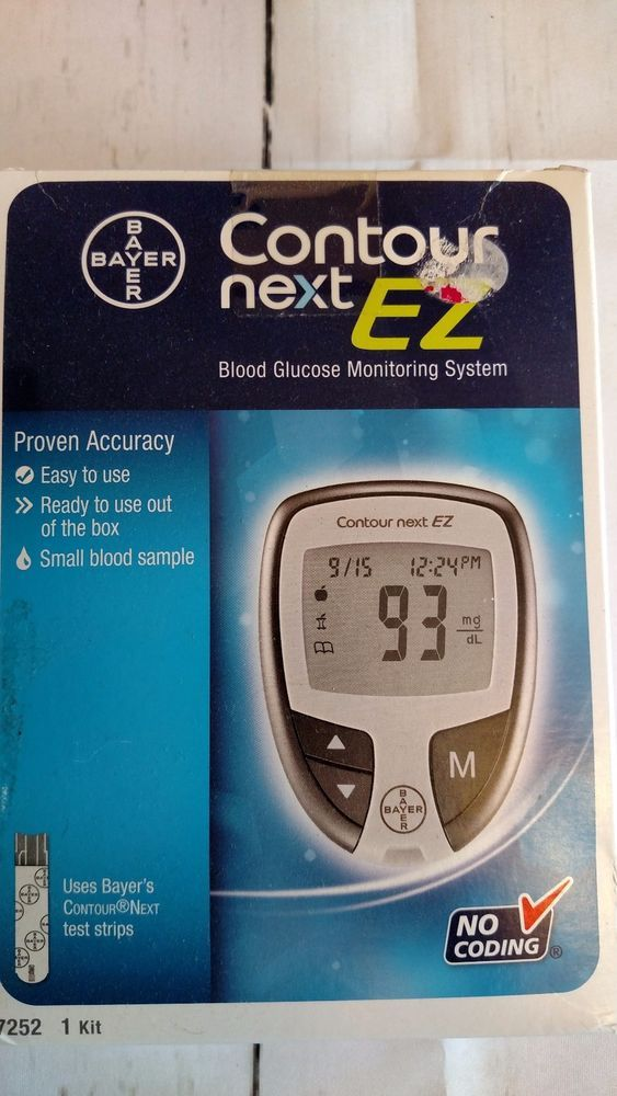 Bayer Contour Next EZ Blood Glucose Monitoring System New in Box No Coding #Bayer