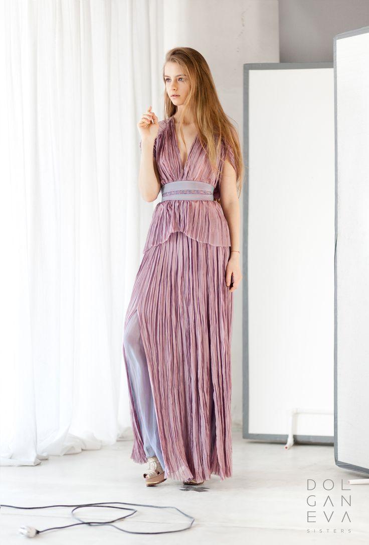 Комплект из крэшированного шелка с плетенным поясом. Set of silk with braided belt