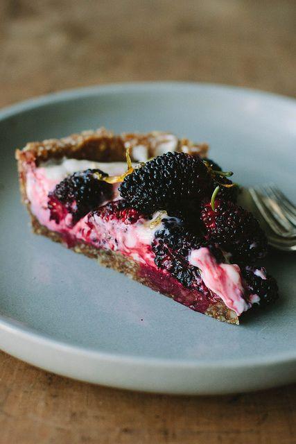 Berry Lemon Yogurt Tart {grain-free} you can substitute blackberries or raspberries