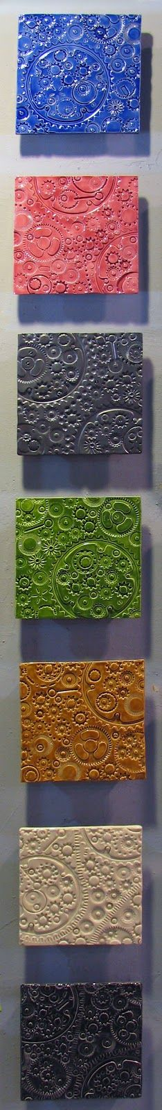 Candy-Colored Gears - ceramic tile mural wall art by JasonMessingerArt.com