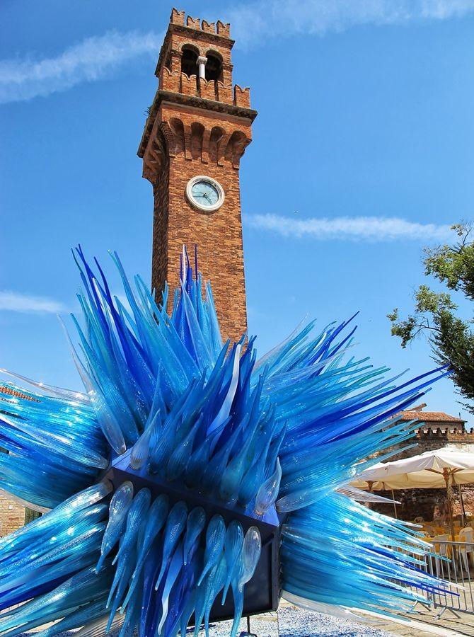 Clock Tower and Glass Work in Murano, Veneto, Italy.