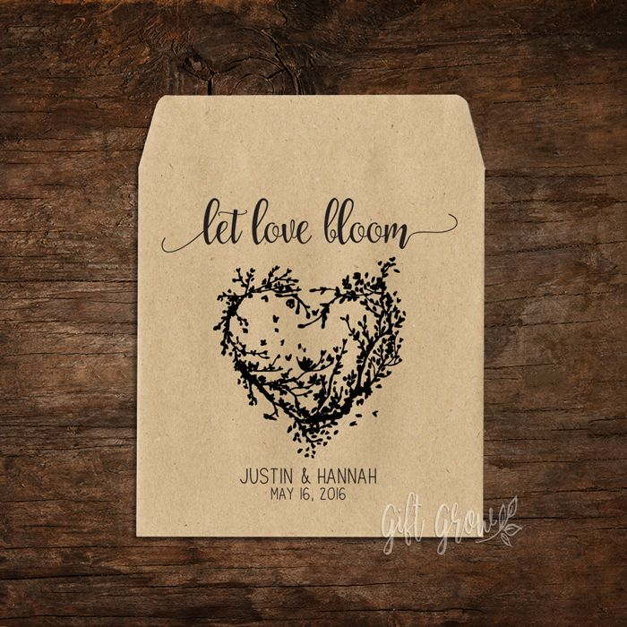 Black Rustic Heart Wreath Wedding Seed Packets