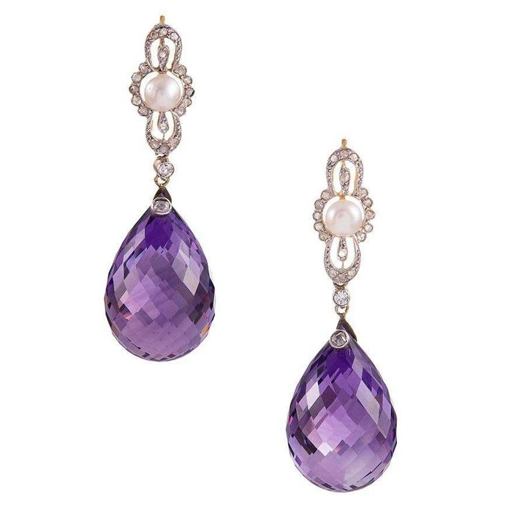 Edwardian Briolette Amethyst Pearl Diamond Platinum Earrings 1