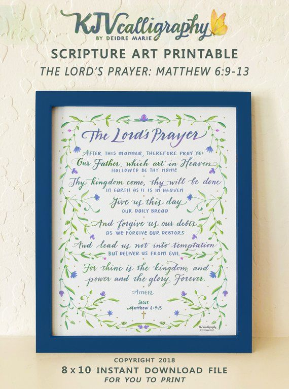 graphic relating to The Lord's Prayer Kjv Printable called Matthew 6:9-13 Bible Artwork, The Lords Prayer, Scripture Print