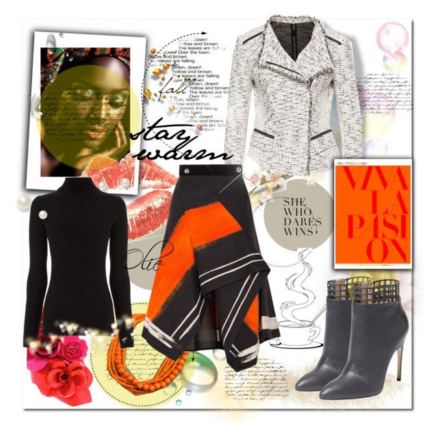 A splash of colour for winter  by azanian-roots on Polyvore   featuring polyvore fashion style Warehouse Marc Peter Pilotto Sergio Rossi NOVICA ESPRIT