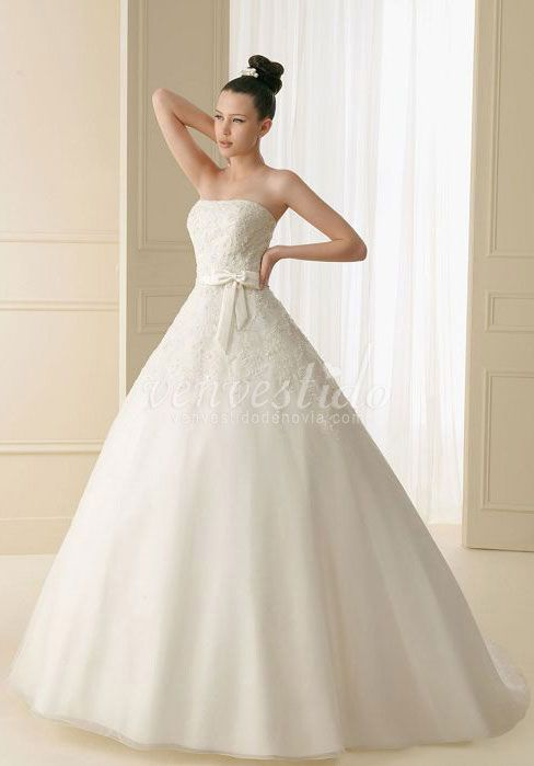 elegante vestido lizo de novia