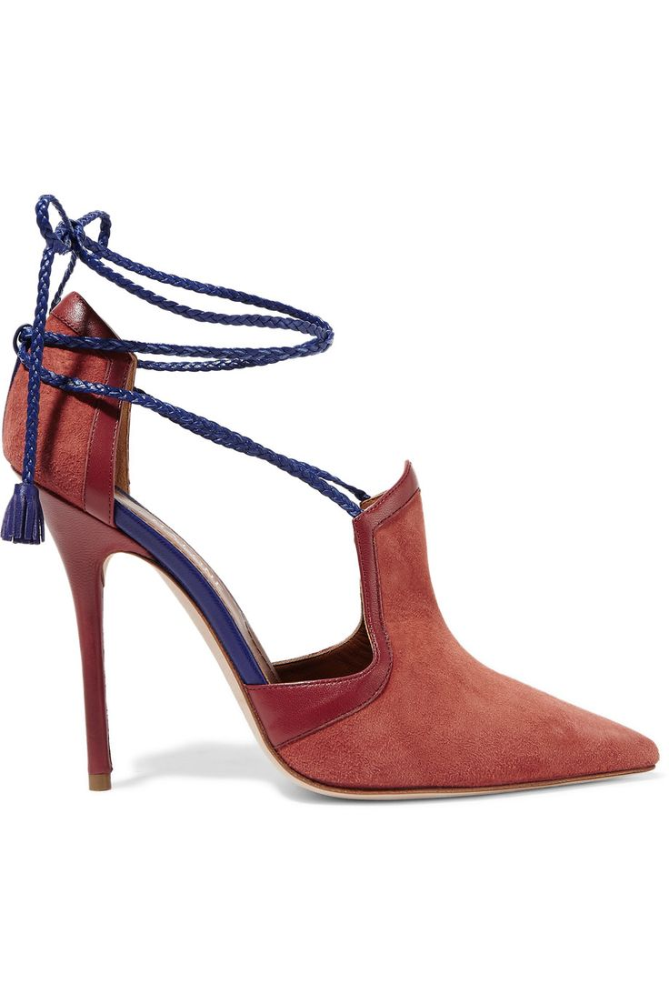 MALONE SOULIERS Haji lace-up leather-trimmed suede pumps. #malonesouliers #shoes #pumps