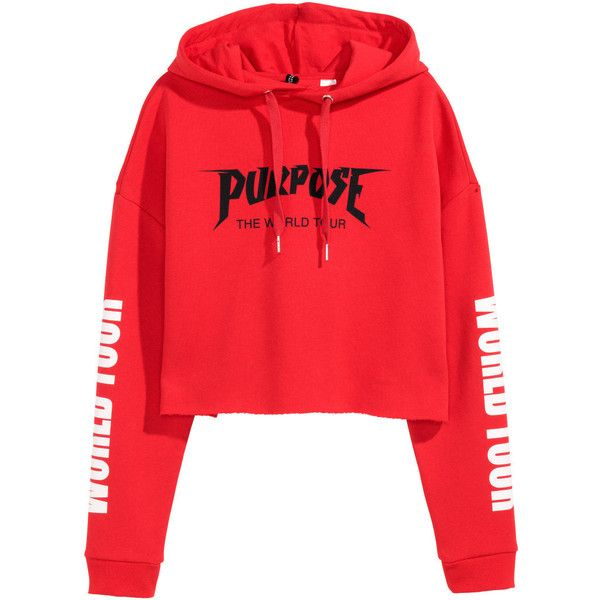 Cropped hooded top SR 129 ($30) ❤ liked on Polyvore featuring tops, hoodies, red long sleeve top, red hoodies, short hoodie, hooded pullover and red top