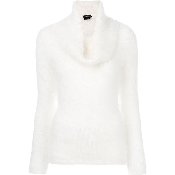 Tom Ford knitted tunic sweater (8,200 CNY) ❤ liked on Polyvore featuring tops, sweaters, white, tom ford, white sweaters, white angora sweater, white tops and angora sweater