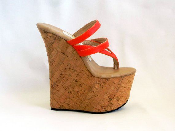 04c353987aa 7 inch Orange / Cork Double Strap Thong Mule Wedge High Heel | Etsy ...