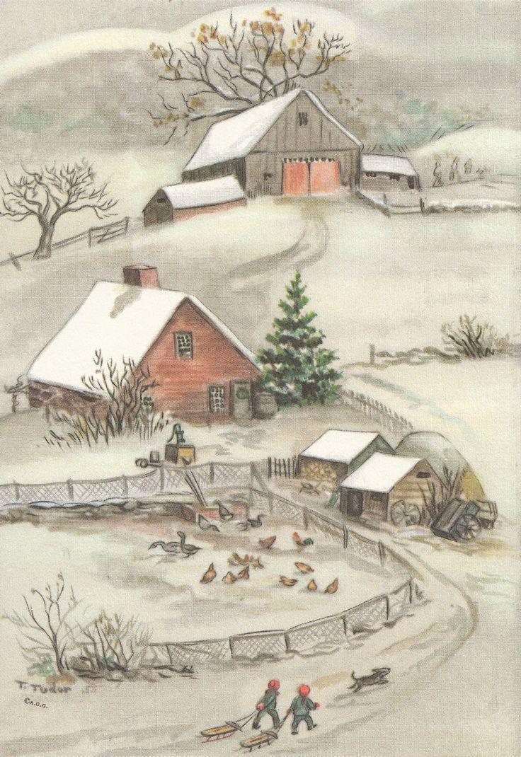RARE Tasha Tudor Vintage FARM Greeting Christmas Card MINT condition as shown