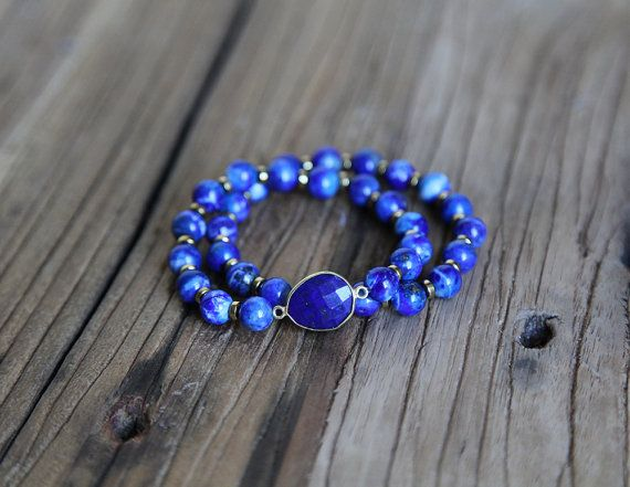 Royal blue sodalite and lapis accent beaded stacking bracelet by Rosehip Jewelry