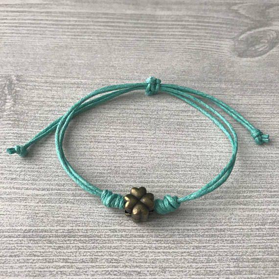 Lucky clover waxed cord braceletAquamarine  adjustable