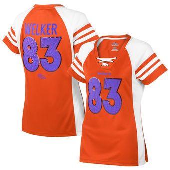 Women's Denver Broncos Wes Welker Majestic Orange Draft Him IV T-Shirt
