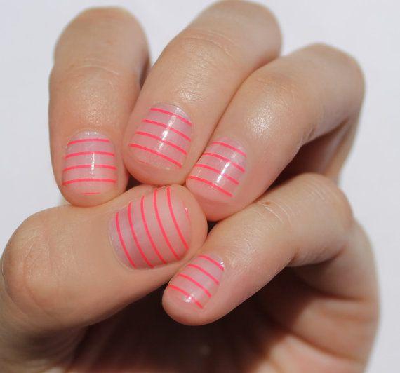 Neon Stripes Transparent Nail Wraps van SoGloss op Etsy