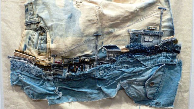 Denim coastal art - do go and look at the site, it's jam-packed with fabulous art - it takes your breath away it's that good