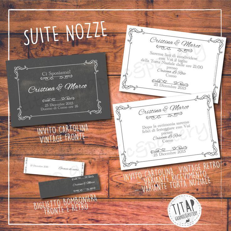 Partecipazione CARTOLINA VINTAGE completa di nozze: stampabile e personalizzabile di TITAP su Etsy
