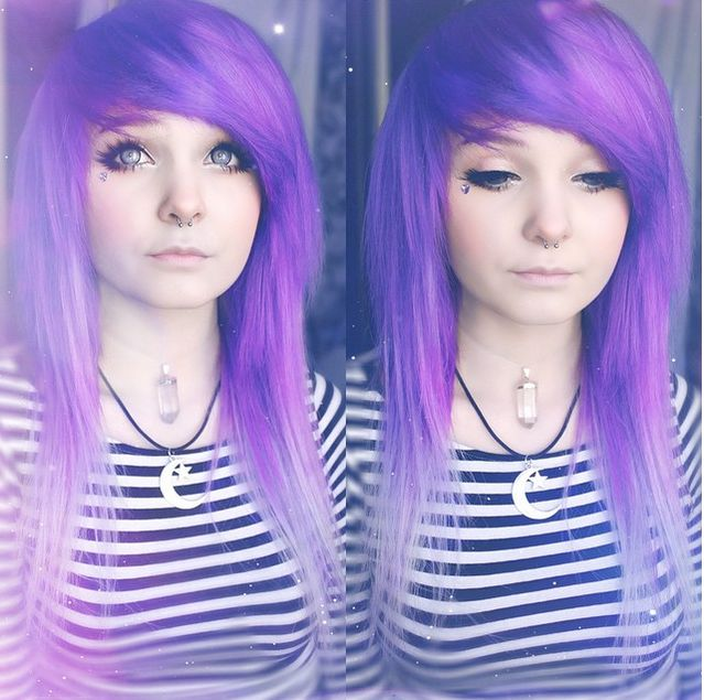 @milkwhore - instagram, moon&star necklace, purple hair, faded tips, stripes, alternative, emo, scene, pastel