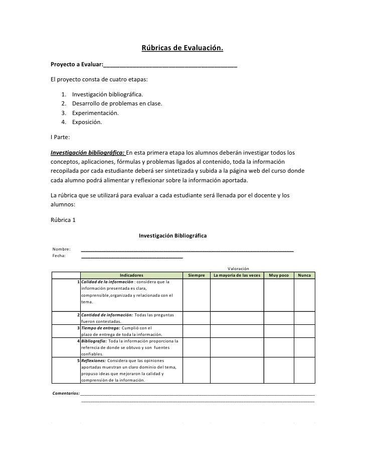 Rúbricas de evaluación de proyectos