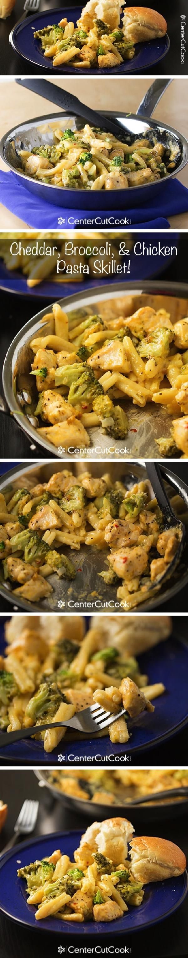 One SKILLET CHEDDAR, BROCCOLI and CHICKEN PASTA! The pasta cooks in the same skillet as everything else... one pot, easy, delicious!
