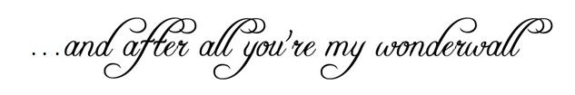 """Played around a bit on microsoft word.. want this as a tattoo on my arm.. what do you think? ps..if you're wondering """"why wonderwall?"""" it's cus it's mine and Aaron's song ♥"""