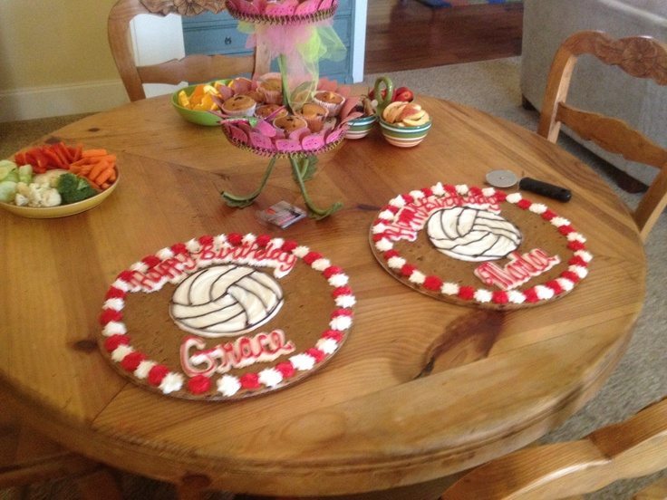 Cute Volleyball Birthday Cookie Cakes I had for a party!
