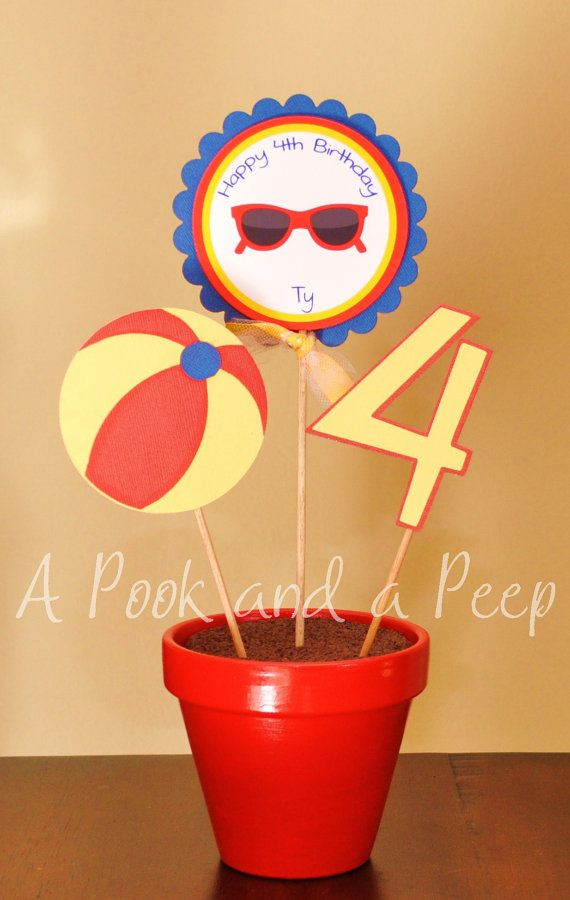 Pool Party Primary Color Beach Ball Birthday Potted Centerpiece #EasyPin