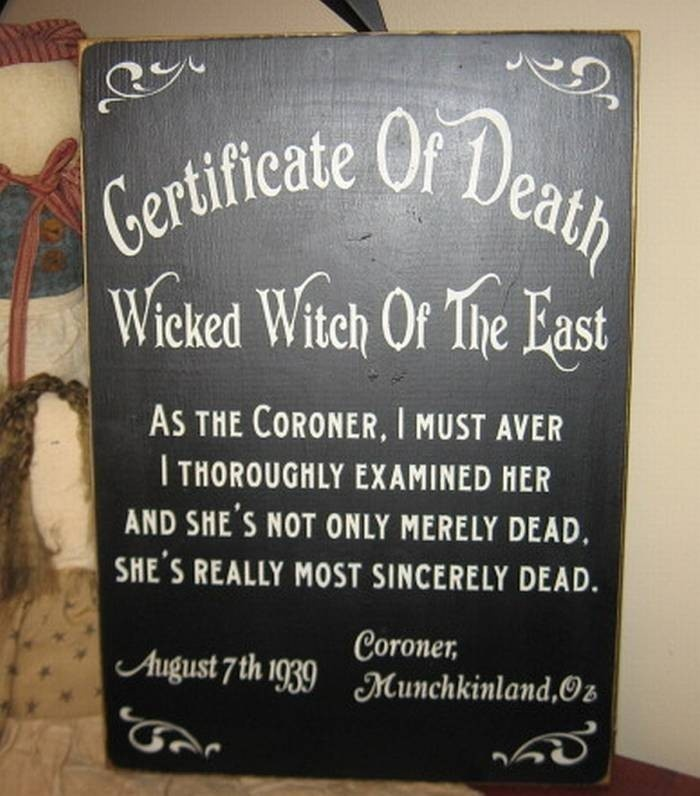 Death Certificate Wicked Witch Of The East  Wizard Of Oz Handpainted Primitive Wood Sign Wall Hanging Home Decor Custom Color Plaque Fairytale Wicca. $28.00, via Etsy.
