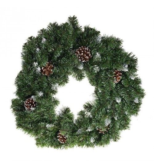 PVC WREATH IN GREEN_FLOCKED COLOR W_PINE CONES (160 tips) D-45