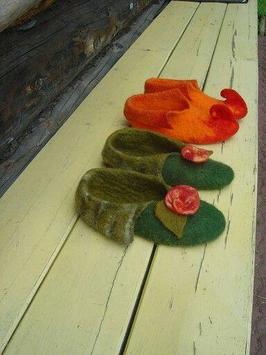 wet felting warm slippers