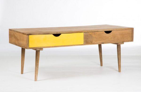 Table basse scandinave avec tiroir jaune // A voir si on ne peut pas la faire nous mêmes