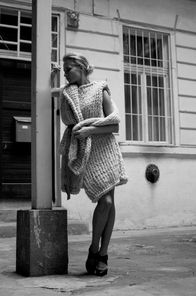 Collection of woolen women's clothing by Jana Mikešová  #wool #fashion #knits #knitting #big #sweater #scarf #janamikesova #shooting #photo #budapest https://www.facebook.com/JanaMikesovaFashionDesigner
