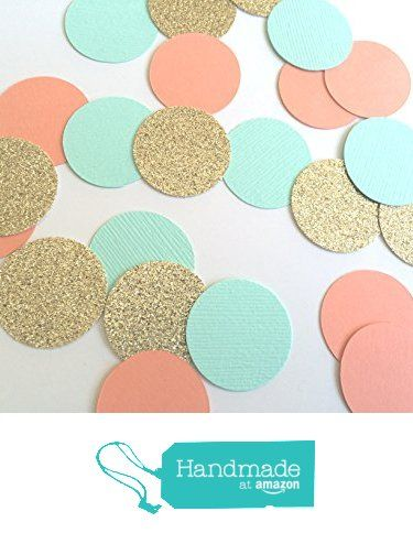 Turquoise, Coral and Gold Glitter Circle Confetti. Party Decorations. 80 Piece Confetti. from Paper Trail by Laura B. http://www.amazon.com/dp/B019JH39CA/ref=hnd_sw_r_pi_dp_-jq5wb1E8G2ZM #handmadeatamazon