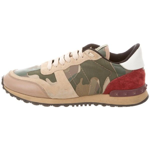 Pre-owned Valentino Rock Runner Sneakers ($525) ❤ liked on Polyvore featuring shoes, sneakers, brown, lace up shoes, lace up sneakers, valentino trainers, brown sneakers and lacing sneakers