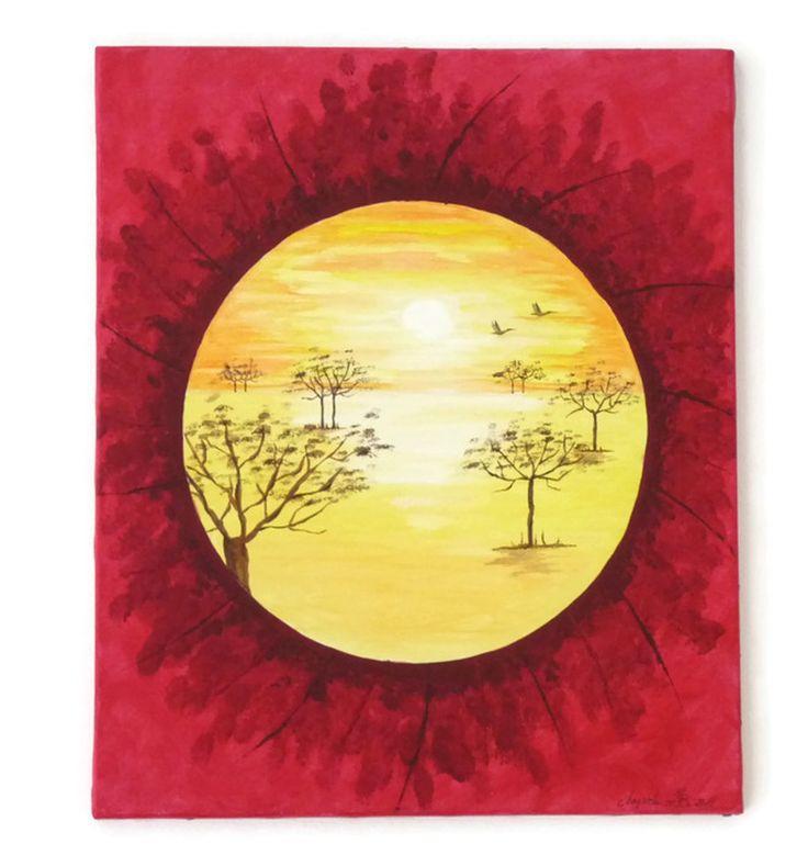 Tableau peinture acrylique paysage africain couleurs - Peinture couleurs chaudes ...